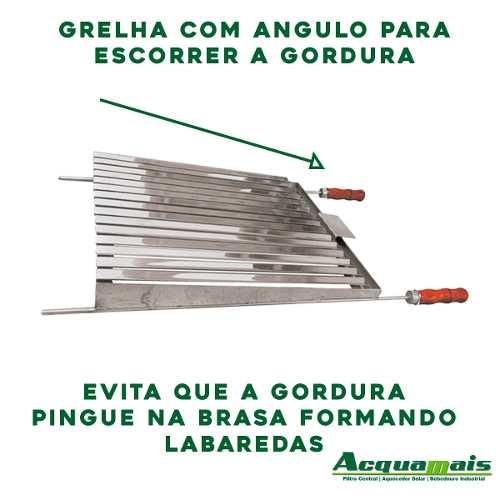 Grelha Argentina Churrasco Lateral Fechada Inox 77x48cm