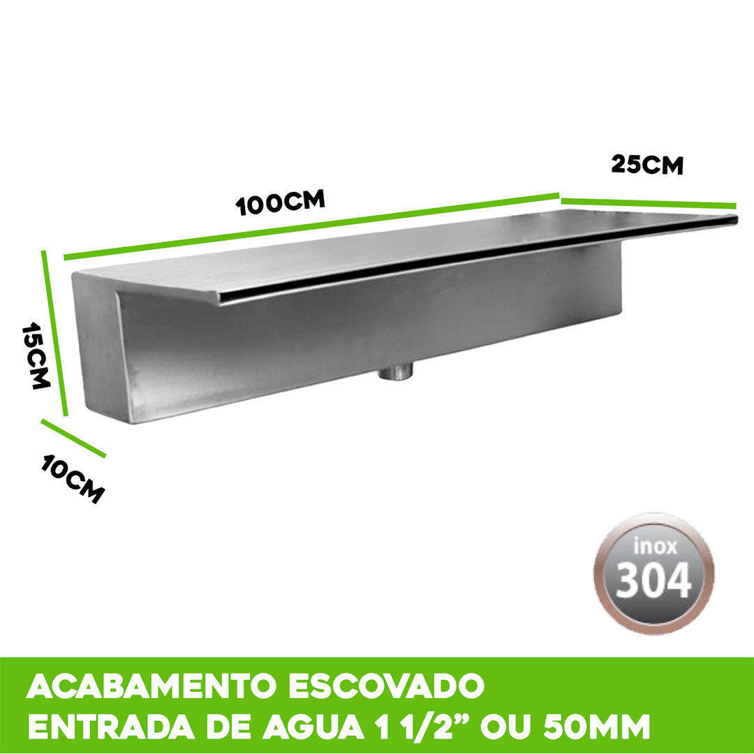Cascata para Piscina de Embutir inox 100cm