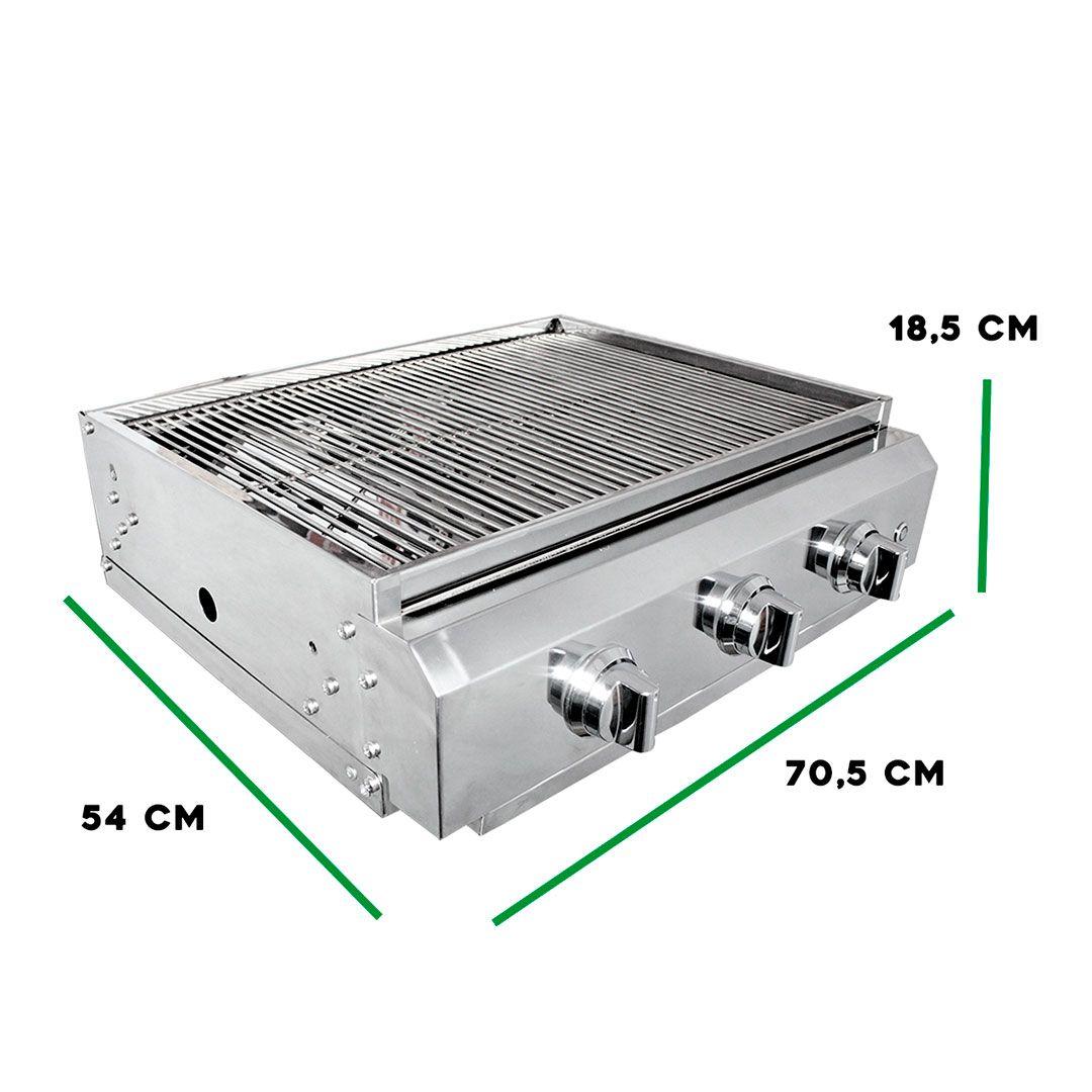 Churrasqueira Gás Embutir 3 queimadores inox 64,5cm