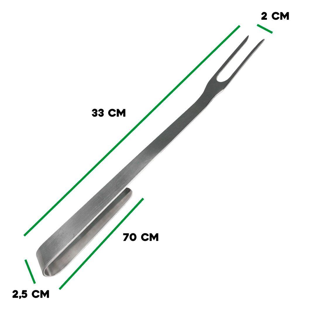 Garfo Longo para Churrasco inox 34x25x2mm