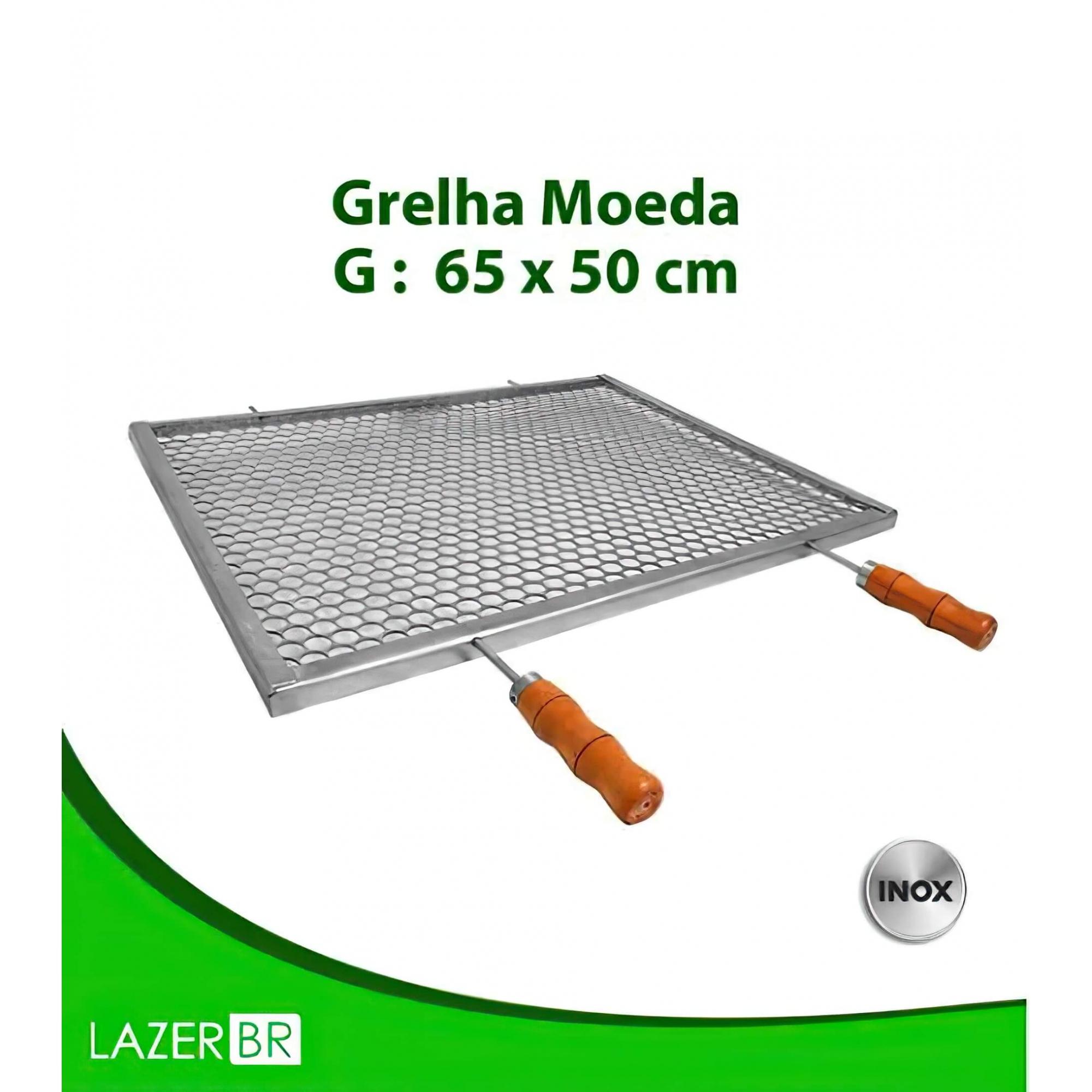 Grelha Moeda para Churrasqueira 6 espetos inox 50x65cm