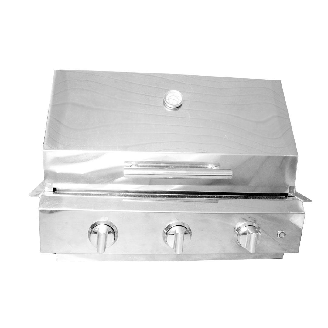 Kit Churrasqueira Gás Embutir 3 queimadores e tampa inox 64,5cm com espeto giratório e chapa de ferro