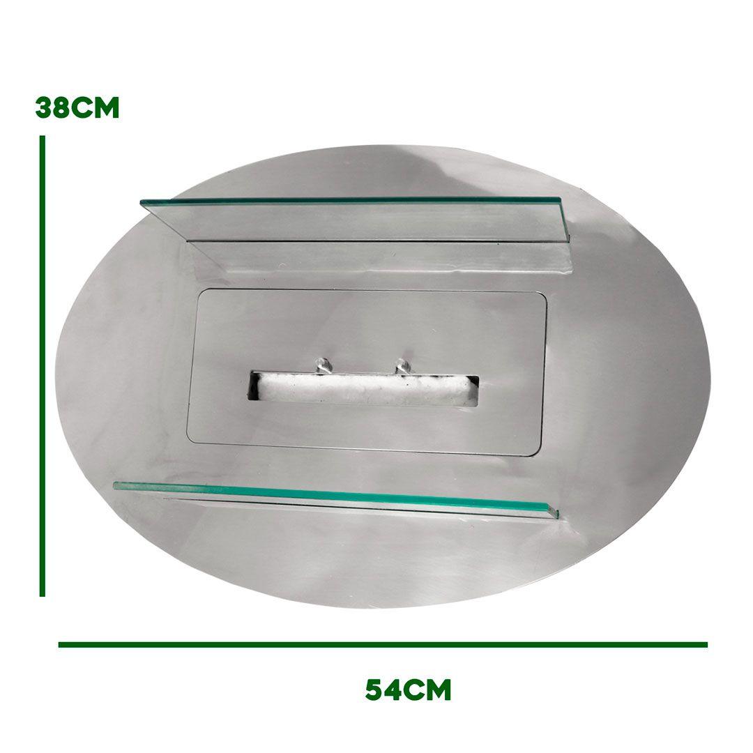 Lareira Ecológica Inox Oval com base a álcool etanol