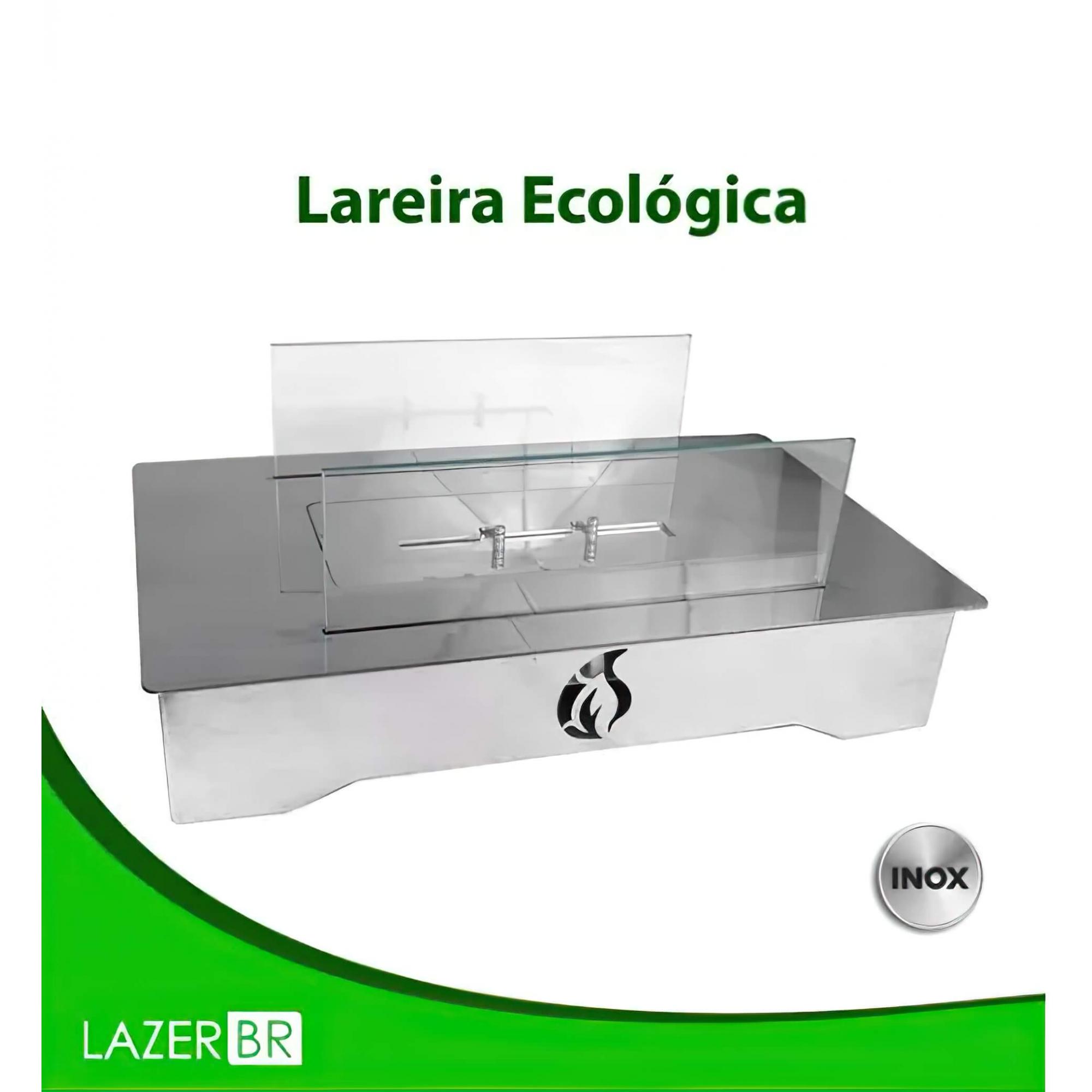 Lareira Ecológica Inox Retangular com base a álcool etanol