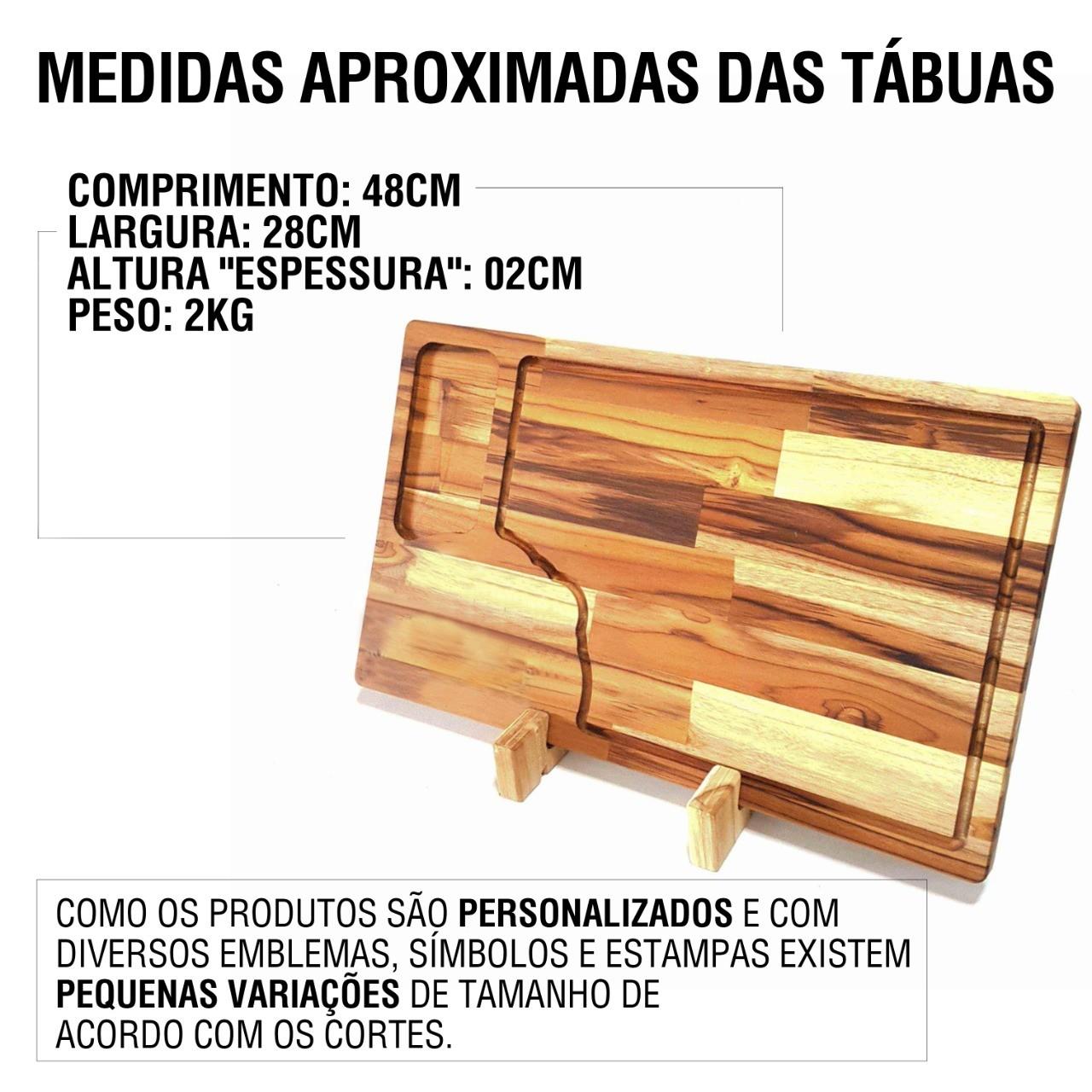 Tábua de Carne para Churrasco Teca Time Flamengo Gabigol