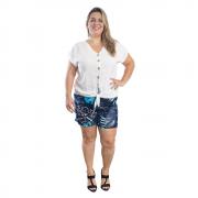Shorts Feminino Plus Size Floral #117