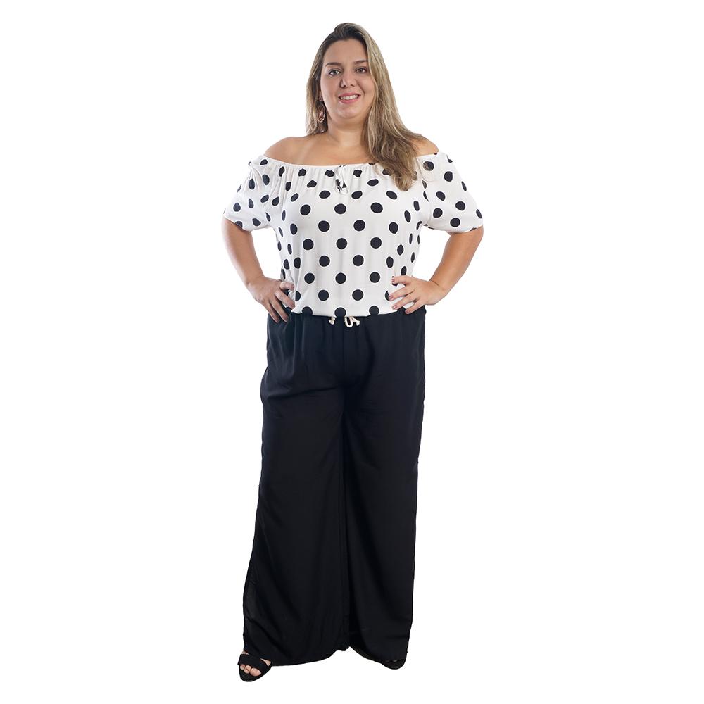 Calça Pantalona Com Fenda Plus Size #124