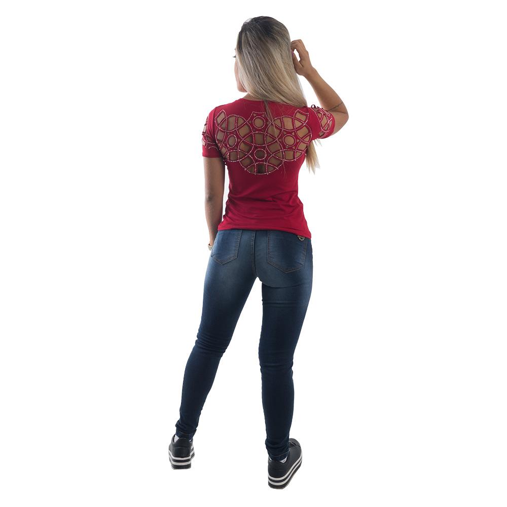 Camiseta T-shirt  Feminina Corte a Laser e Brilho #073
