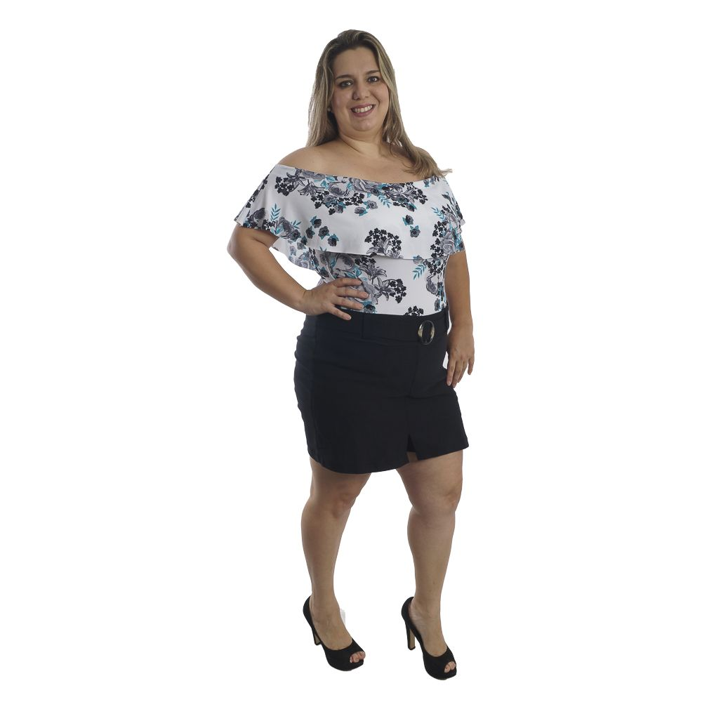 Shorts Saia Com Cinto Plus Size #099