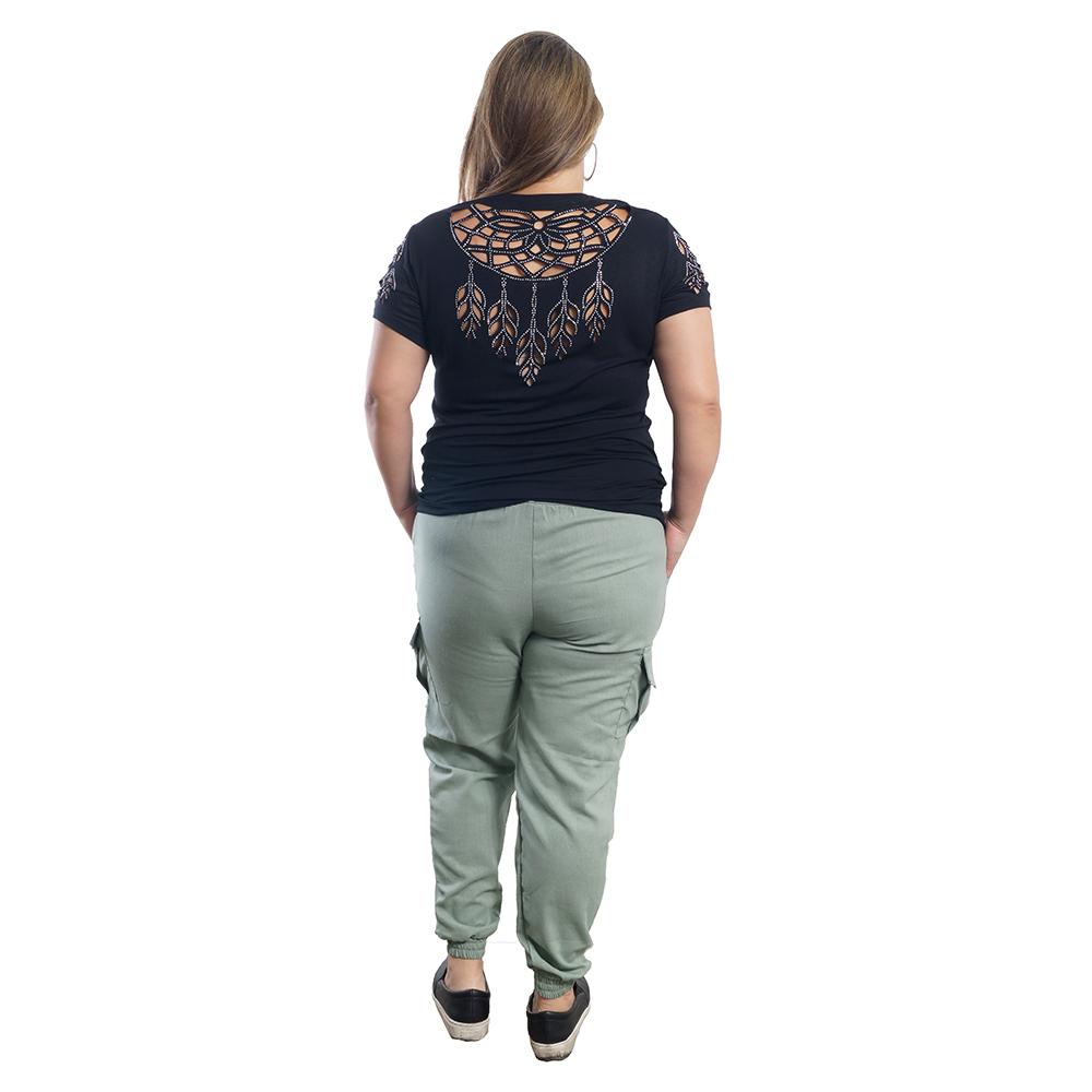 T-Shirt Corte A Laser Brilhos Plus Size #115