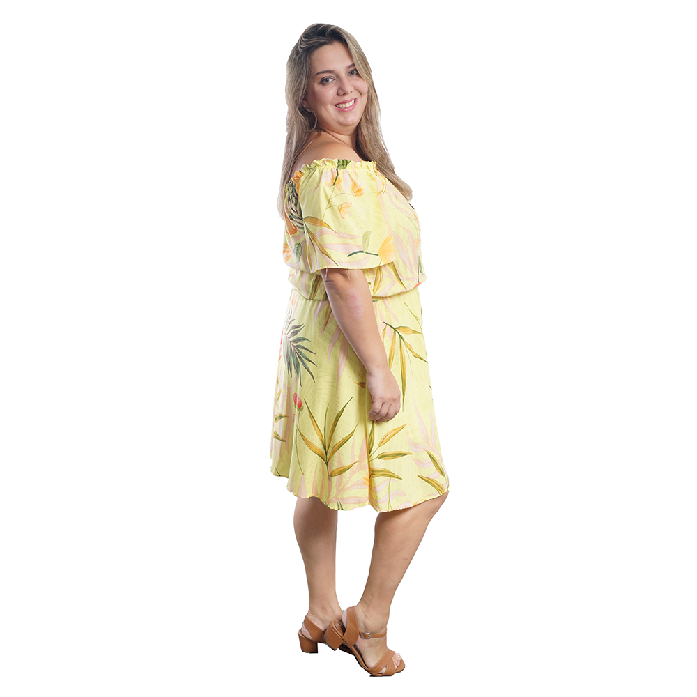Vestido Ciganinha Floral Amarelo Plus Size #096
