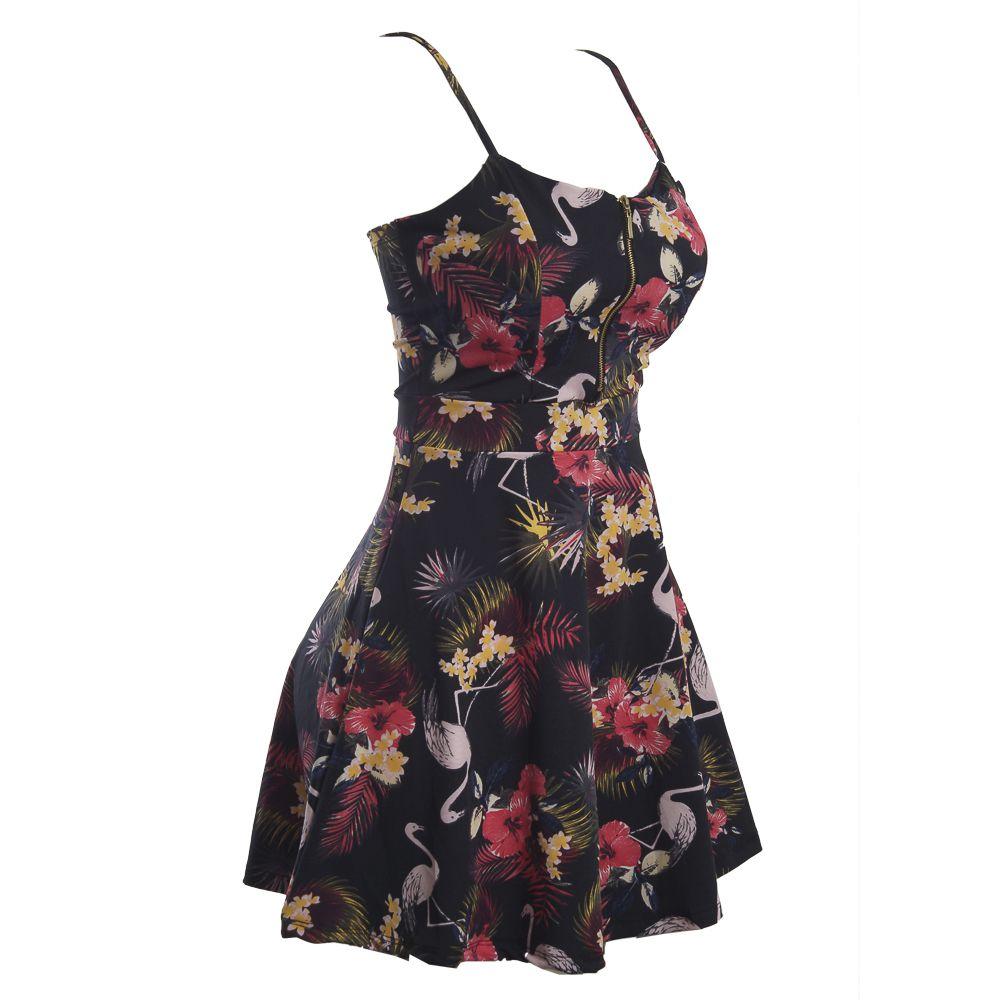 Vestido Zíper Floral Preto #112