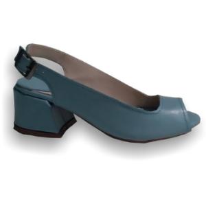 Sandália Azul em Couro com salto Bloco Marina
