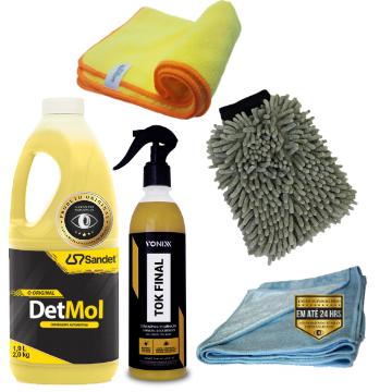 Kit de lavagem automotiva Detmol + cera vonixx + flanela autoamerica