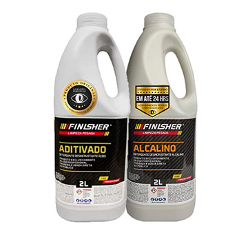 Kit limpeza pesada finisher alcalino 2l + aditivado 2l
