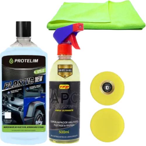 Kit para Limpeza e Proteção de Plásticos, Borrechas e Vinil