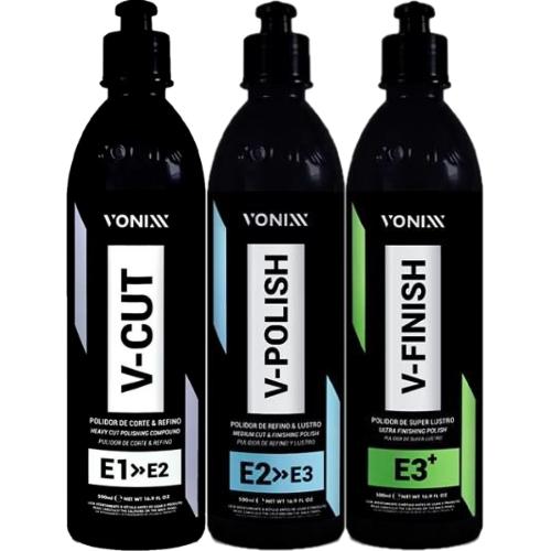 Kit Polidores V-Cut 500ml V-Polish 500ml V-Finish 500ml Vonixx