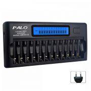 Carregador Palo NC-30 para 12 pilhas com LCD
