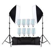 Kit de Iluminação PK-SB01 com 8 Lâmpadas 50W, 2 Softbox 50X70, Tripés e Bolsa Bivolt Greika
