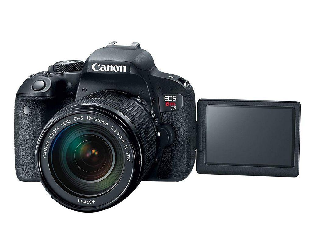 Câmera Canon EOS T7i com Lente EF-S 18-55mm f/4-5.6 IS STM