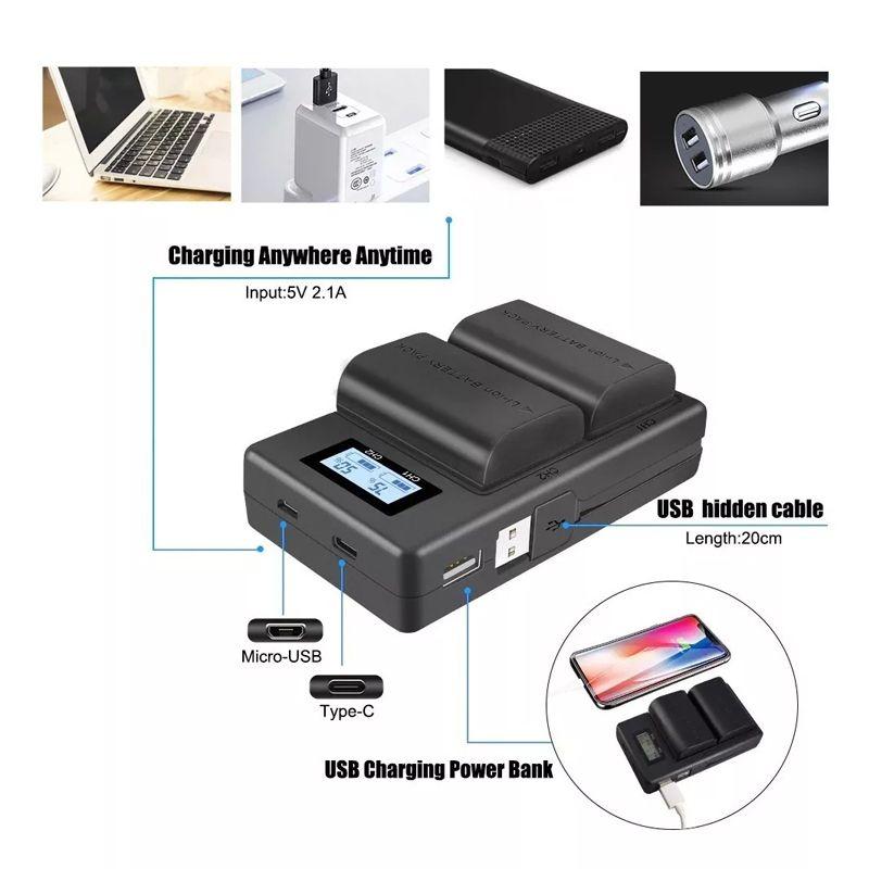 Carregador para bateria DUPLO LC-E6 COM LCD