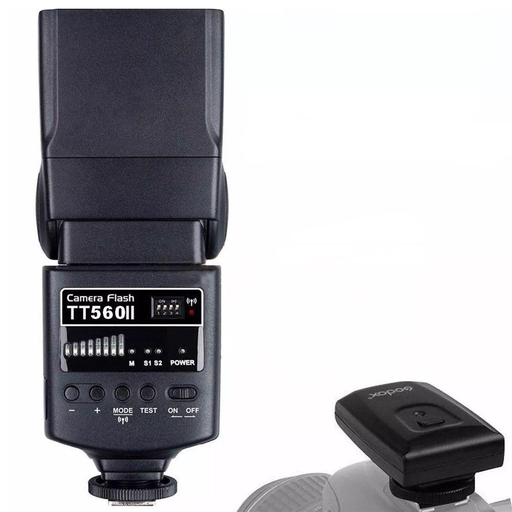 FLASH GODOX TT560II UNIVERSAL KIT COM RADIO FLASH EMBUTIDO