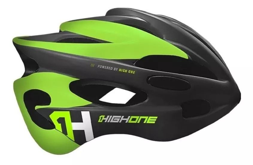 CAPACETE CICLISMO HIGH ONE VOLCANO C/LED LM-008 - CINZA/VERDE