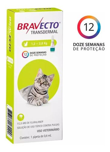 Antipulgas Bravecto Transdermal Gato 1,2-2,8Kg