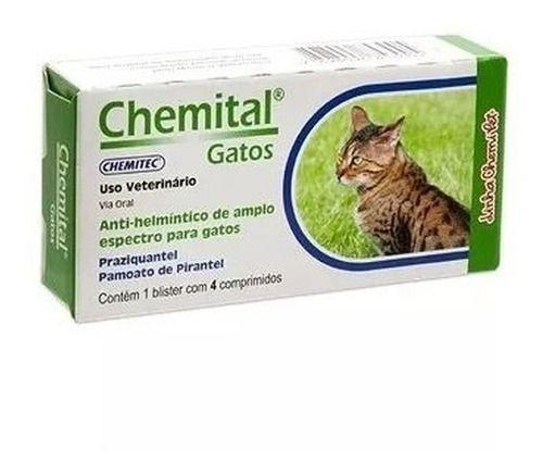 Vermifugo Para Gatos Chemital Com 04 Comprimidos