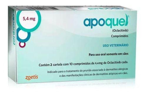 Apoquel 5,4Mg Zoetis Para Cães 20 Comprimidos