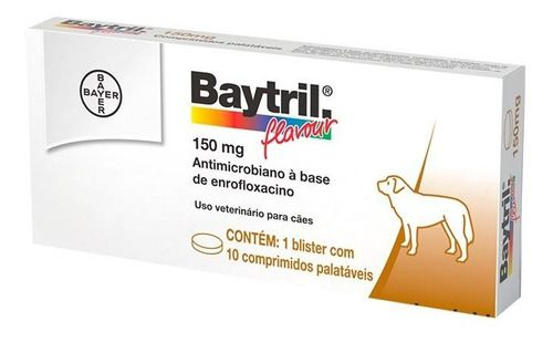 Baytril Flavour Bayer150 Mg Com 10 Comprimidos