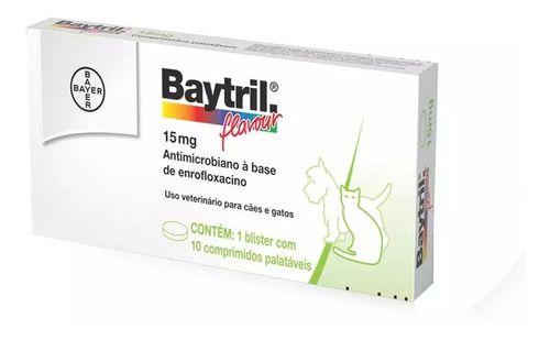 Baytril Flavour Bayer 15 Mg Com 10 Comprimidos