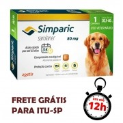 Antipulgas Simparic 80 Mg Para Cães 20.1 A 40 Kg 01 Unidade
