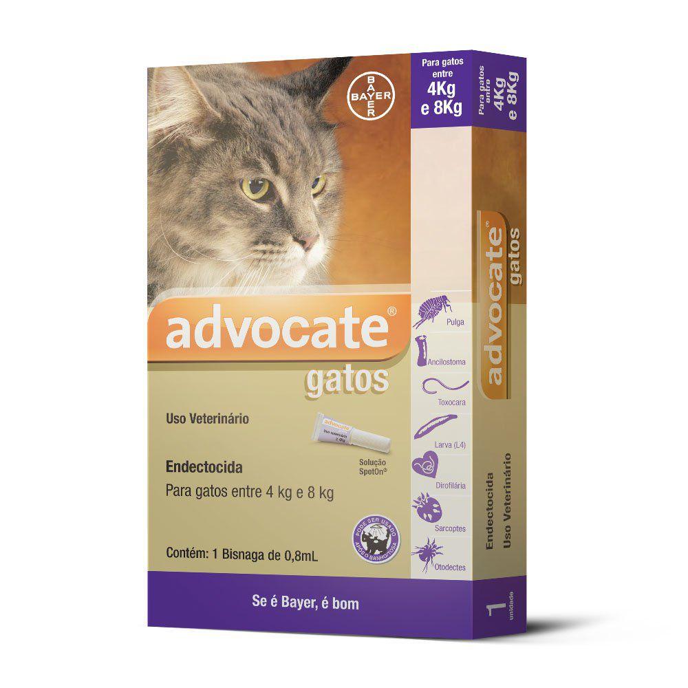 Antipulgas Advocate Para Gatos De Até 4 A 8 Kg 0.8Ml - 01 Unidade