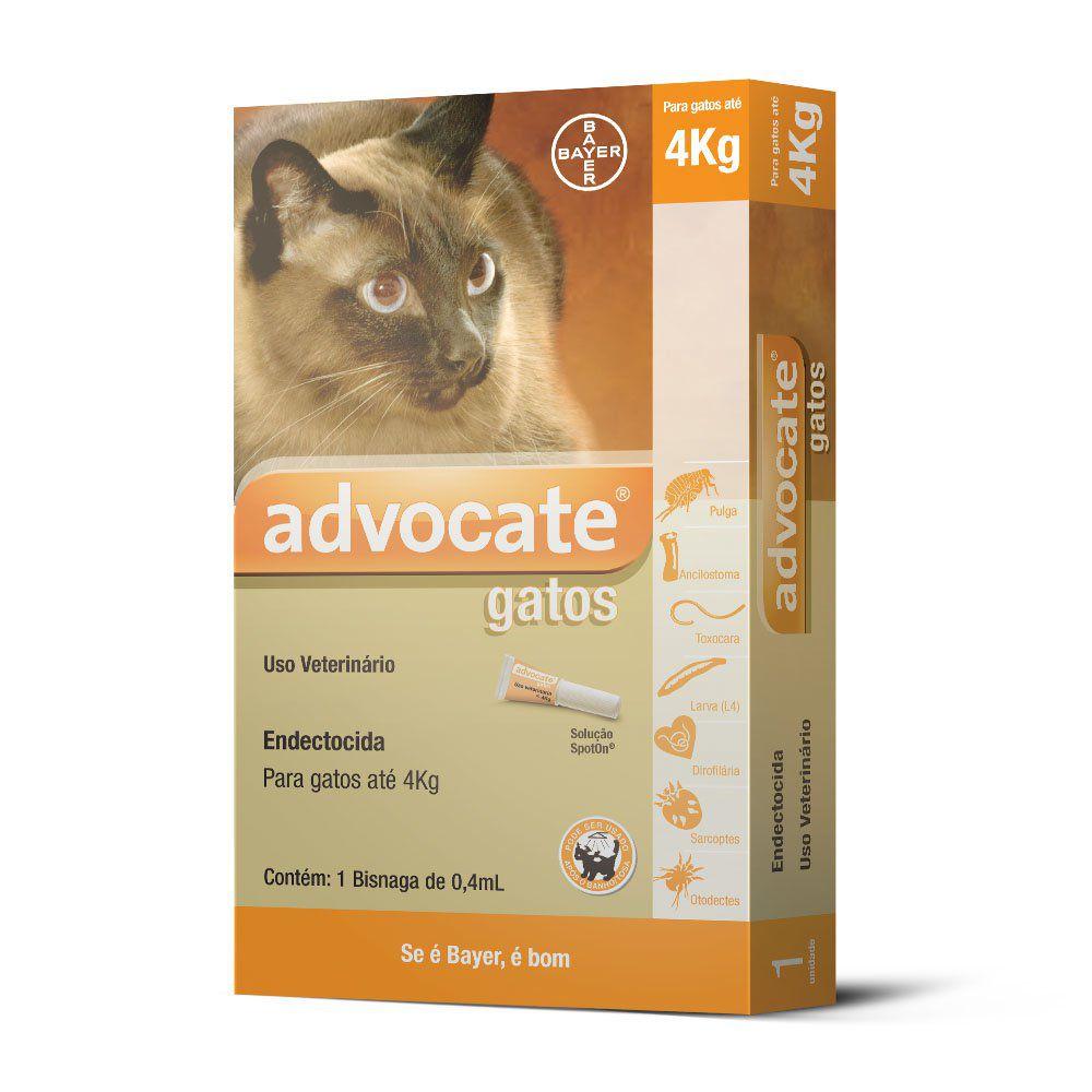 Antipulgas Advocate Para Gatos De Até 4Kg 0.4Ml - 01 Unidade