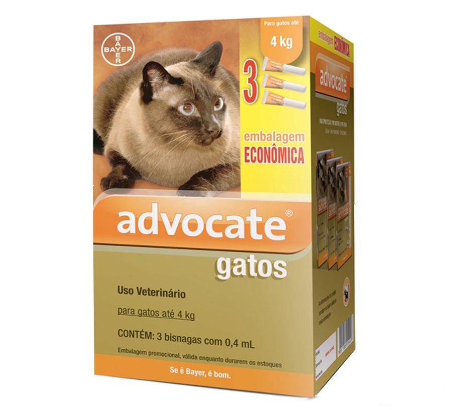 Antipulgas Advocate Para Gatos De Até 4Kg 0.4Ml - 03 Unidades