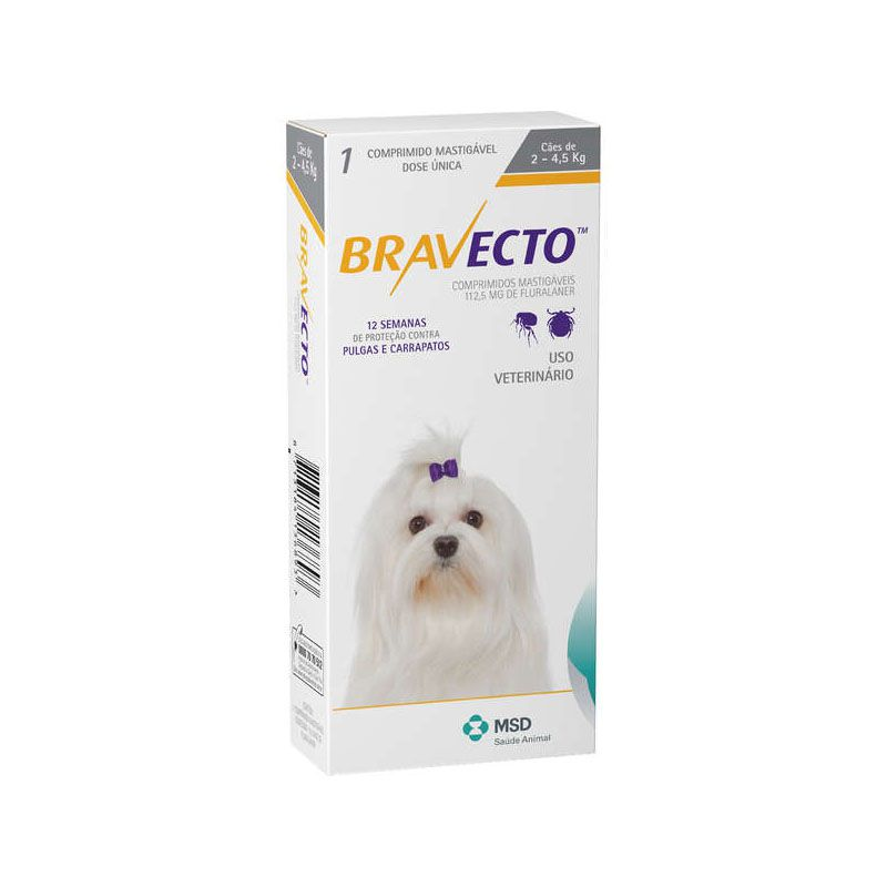 Antipulgas E Carrapatos Bravecto Msd Para Cães De 2 A 4.5 Kg