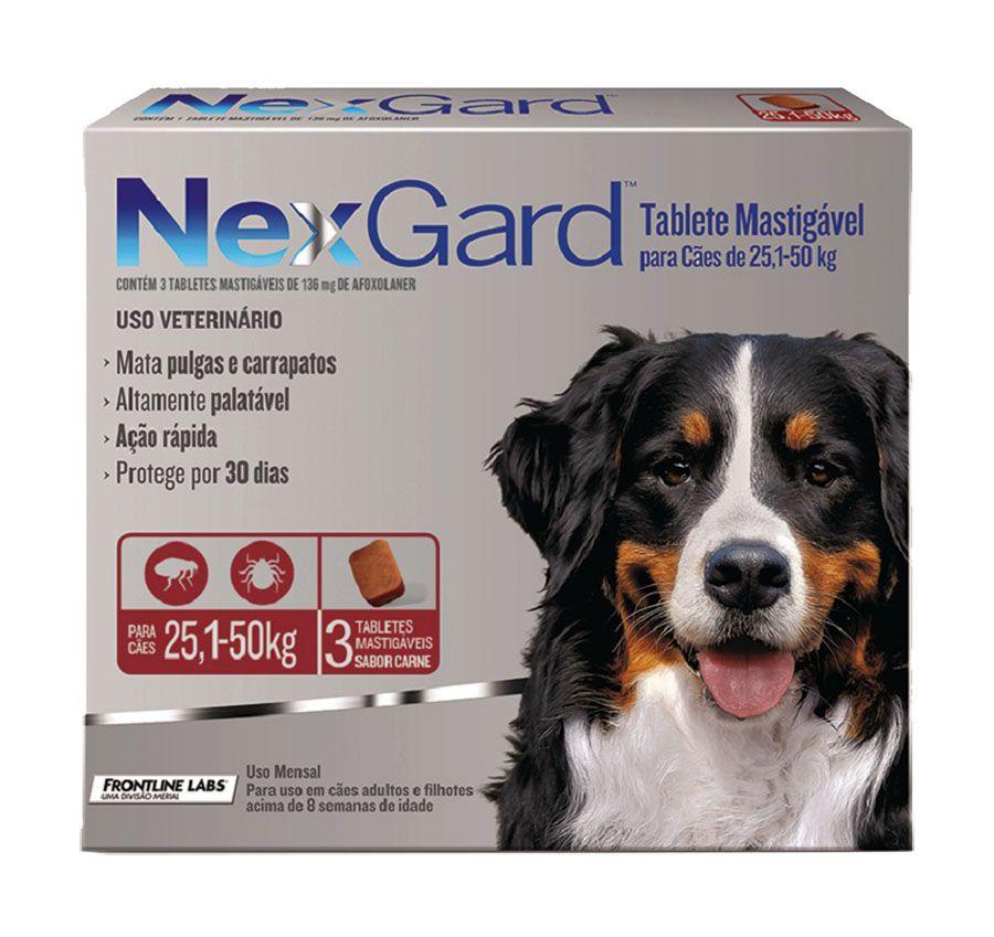 Antipulgas E Carrapatos Nexgard136 Mg Para Cães De 25.1 A 50 Kg - 03 Unidades