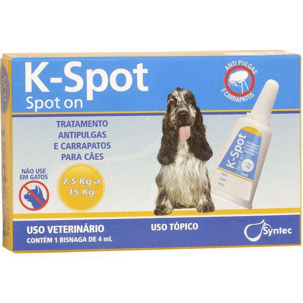 Antipulgas E Carrapatos Syntec K-Spot 4 Ml Para Cães De 7.5 Kg A 15 Kg