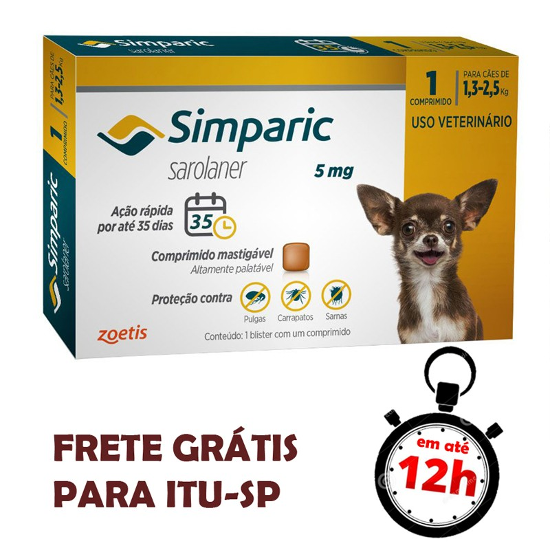 Antipulgas Simparic 5 Mg Para Cães 1.3 A 2.5 Kg 01 Unidade