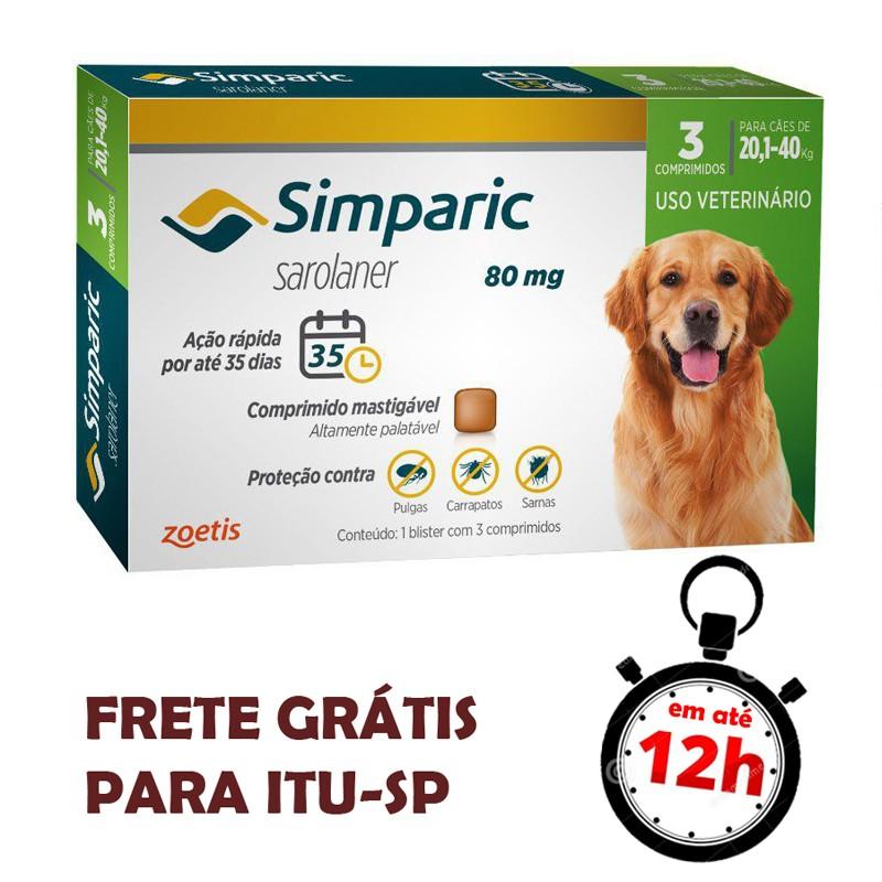 Antipulgas Simparic 80 Mg Para Cães 20.1 A 40 Kg 03 Unidades