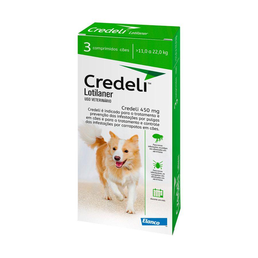 Credeli Antipulgas E Carrapatos Cães 11 A 22 Kg (450 Mg) C/3 Compr.