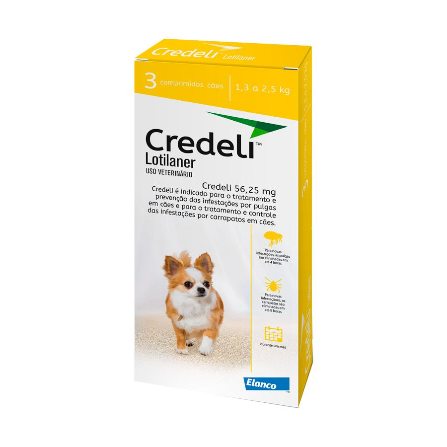 Credeli Antipulgas E Carrapatos Cães 1.3 A 2.5 Kg (56.25 Mg) C/3 Compr.