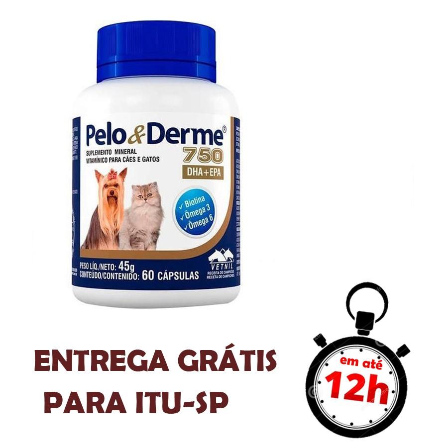 Pelo E Derme Para Cães E Gatos 750 Mg 60 Cápsulas