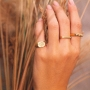 Anel de olho grego ajustável banhado a ouro 18k