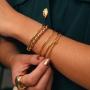 Bracelete ajustável fino duplo banhado a ouro 18k