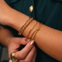 Bracelete ajustável tubo liso banhado a ouro 18k