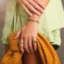 Bracelete Alícia cravejado com zircônia rosa banhado a ouro 18k
