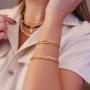 Bracelete prego ajustável banhado a ouro 18k
