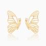 Brinco de borboleta vazado banhado a ouro 18k